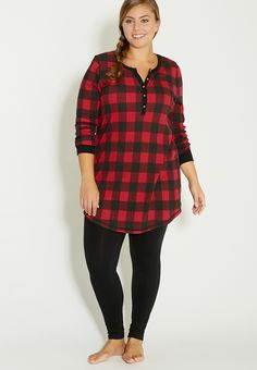 plus size thermal sleep tunic in red and black plaid