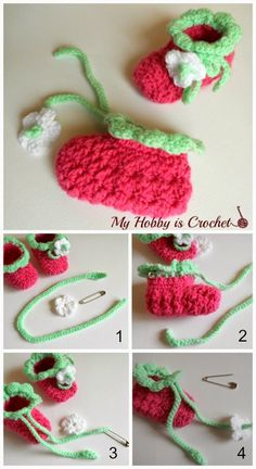 Free Crochet Pattern - Blooming Strawberry Crochet Baby Booties - Size 0-6 mths