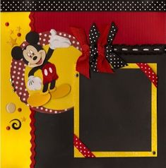 Here is my red, black and yellow Mickey spread. I love how the different ribbon patterns go together. I found this cute set of red ribbo...
