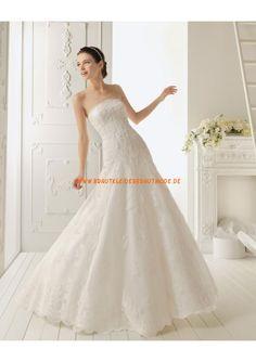2013 Liebste romantische Brautkleider aus Satin mit Applikation A-Linie