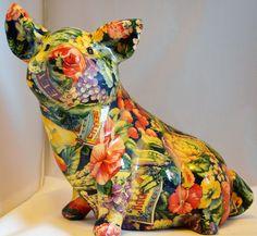 Patchwork Ceramic Pig 8 in x 14 in x 11 in Ceramic Clay China