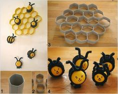 Cute beehive F Wonderful DIY Cute Bee Hive Decoration From Paper Rolls Kids Crafts, Bee Crafts, Toilet Paper Roll Crafts, Paper Crafts, Diy Paper, Tissue Paper, Diy Wanddekorationen, Bee Party, Cute Bee