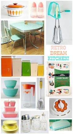 Oh So Lovely Vintage: Our retro dream kitchen! - Oh So Lovely Vintage: Our retro dream kitchen! Retro Kitchen Accessories, Retro Kitchen Decor, Kitchen Styling, 1960s Kitchen, Vintage Design, Vintage Decor, Retro Vintage, 1950s Decor, Vintage Table