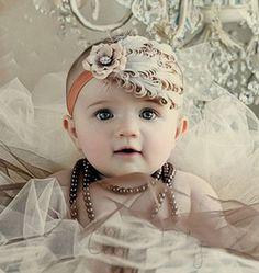 Baby Girl Infant Headband Bow Peacock Feather Fascinator Satin Flower Cute   eBay
