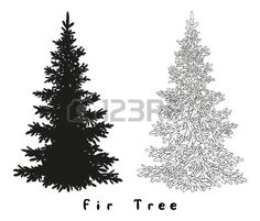 Christmas Spruce Fir Tree Black Silhouette, Contours and Inscriptions..