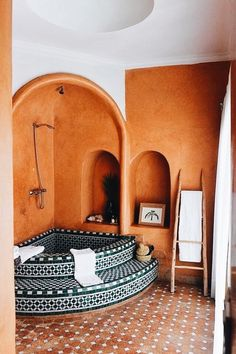 spanish style homes - moroccan tiled soaking tub - corner tub - indoor hot tub spa - vacation homes. spanish style homes - moroccan tiled soaking tub - corner tub - indoor hot tub s. Budget Bathroom, Bathroom Interior, Bathroom Ideas, Modern Bathroom, Bathroom Designs, Bathroom Remodeling, Remodeling Ideas, Bathroom Goals, Remodel Bathroom