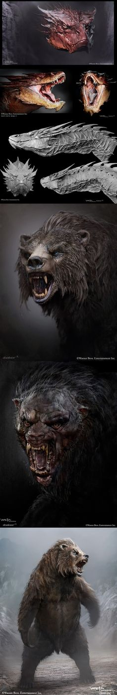 Concept art for Smaug and Beorn by Andrew Baker in The Hobbit. Smaug has a very snake like jaw.