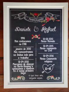 Lindo quadro tipo chalkboard, para as de pré-wedding e decoração.       - Tamanho 36.5x48,5 cm  -Moldura em madeira de 2 cm.  - sem vidro  - pôster impresso em papel especial Classic    Personalizamos com o nome, data do casamento e algumas curtas historinhas que marcaram a vida do casal.    * se...