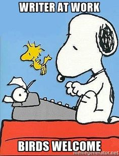 Snoopy - Writer at work Birds welcome
