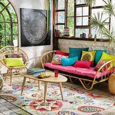 Rattan daybed 90 x 190 cm Bohemian Interior, Bohemian Decor, Boho Chic, Bohemian Living, Boho Style, Home Deco, Rattan Daybed, Estilo Tropical, Tropical Style
