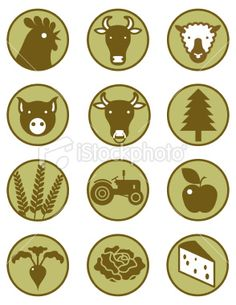 Farming and Agriculture icons Royalty Free Stock Vector Art Illustration