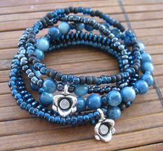 Teal blue pewter silver black and metallic by MoonlightsCreations, $13.80
