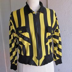 new wave 80s cropped jacket - black and yellow stripes - xs s. $24.00, via Etsy.