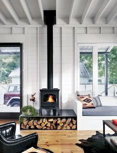 Home/ Family Room Most up-to-date Snap Shots Wood Stove makeover Thoughts Whilst wood is among the m Wood Stove Surround, Wood Stove Hearth, Wood Fireplace, Living Room With Fireplace, Fireplace Ideas, Living Room With Stove, Fireplace Decorations, Stove Fireplace, Scandinavian Fireplace
