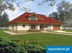 Sadyba - projekt domu 106,4m2 + garaż - autorstwa Pracowni Opus - www.opusdom.pl How To Plan, Mansions, House Styles, Houses, Home Decor, Homes, Decoration Home, Manor Houses, Room Decor