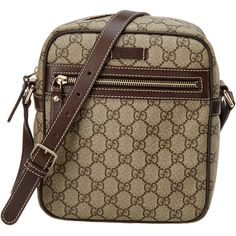 Gucci Brown Gg Supreme Coated Canvas & Leather Shoulder Bag ($550) ❤ liked on Polyvore featuring bags, handbags, shoulder bags, nocolor, shoulder handbags, leather purses, brown purse, gucci purse and brown handbags