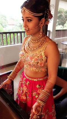 Shweta Tripathi and Chaitnya Sharma Bridal Outfits, Bridal Dresses, Dress Wedding, Bridal Looks, Bridal Style, Choli Dress, Red Lehenga, Indian Bridal Fashion, Blue Bridesmaid Dresses