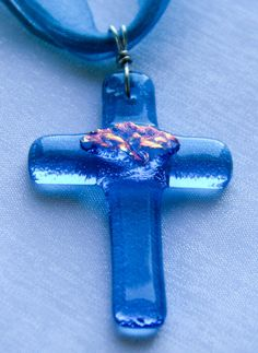 Fused Dichroic Glass Cross Pendant by ArtFusionStudioTampa on Etsy, $24.99