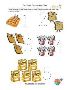 Preschool Writing Activity - Trace The Grains Food Group