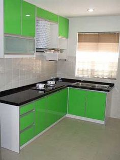 Small Kitchen:How To Make Small Kitchen Space Appear More Useful Modern  Small Kitchen With Green Color Kitchen Cabinets Made Of Wooden Kitchen  Cupboards