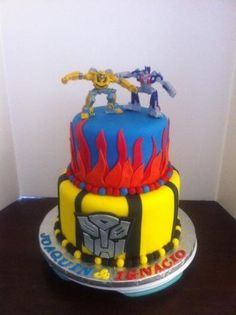 Cake Icing, Fondant Cakes, Eat Cake, Cupcake Cakes, 4th Birthday Cakes, Birthday Desserts, Birthday Ideas, Transformer Birthday, Transformer Cake