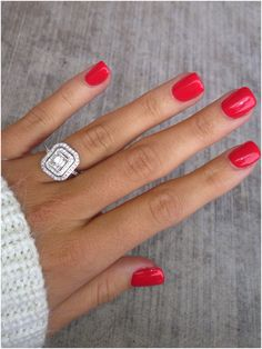 Engagement ring / Cajun shrimp nails / red nails / emerald cut / double halo