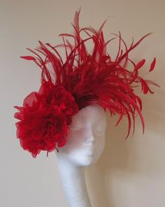 Red Feather and Flower Fascinator Hat by Hatsbycressida on Etsy, $135.00