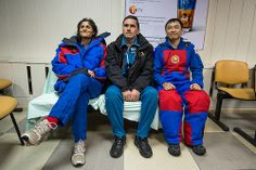 Expedition 33 crew members; Commander Sunita Williams of NASA, left, Flight Engineers Yuri Malenchenko of ROSCOSMOS (Russian Federal Space Agency), and Akihiko Hoshide of JAXA (Japan Aerospace Exploration Agency), right, smile for photos at the Kustanay Airport in Kazakhstan a few hours after they landed their Soyuz spacecraft in a remote area outside the town of Arkalyk, Kazakhstan, on Monday, Nov. 19, 2012. Expedition 33 Soyuz Landing (201211190021HQ)