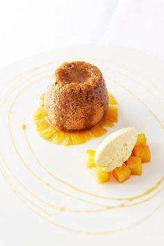 Sticky ginger pudding, marinated pineapple, mango cream and ginger beer syrup by Will Holland