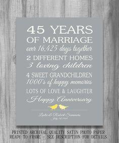 45th Wedding Anniversary Gift CUSTOMIZED by PrintsbyChristine, $20.00