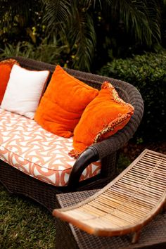 Plush orange accent pillows are made for lounging