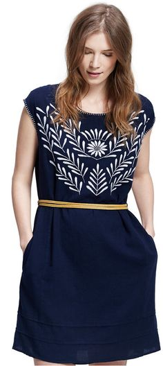 Violeta by Mango Plus Size Embroidered Belted Dress