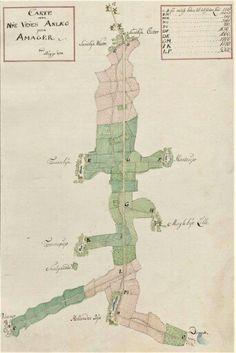 Kort over Amager Landevej. Tegnet af Thomas Bugge 1774.
