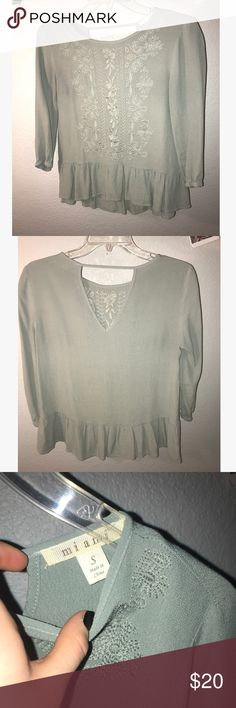 Olive green floral top Olive green. Floral. Peplum trim. Francesca's Collections Tops Blouses