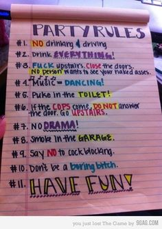Funny pictures about Best party rules ever. Oh, and cool pics about Best party rules ever. Also, Best party rules ever photos. House Party Rules, Fun House, College Parties, College Party Games, Adult Party Games, Party Drinks, Best Part Of Me, Girls Night, Party Time