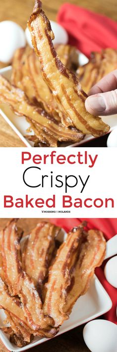 Perfectly Crispy Baked Bacon by Noshing With The Nolands is so easy you will never cook it any other way again. Hardly any splatter and clean up is a breeze!