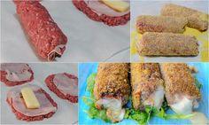 Cannoli di carne ripiena mini polpettoni ricetta veloce, ricetta semplice, secondo sfizioso, ricetta anche per bambini, carne macinata farcita con prosciutto e provola