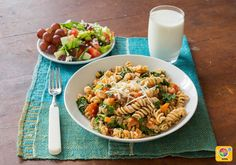 Pasta with Chickpeas, Tomato, and Spinach #veggies #grains #dairy #MyPlate