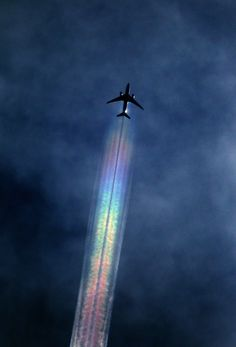 Airplane Flying with Rainbow. Wonderful & Amazing Smoke of Colours. ☺❤