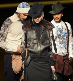 what style are tattoos ? a faint reminiscence of biker, gentleman goes biker ? what a mixture - Jean Paul Gaultier AW12/13