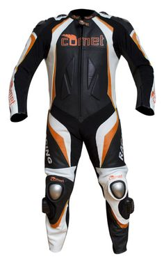 Comet CCR-1  Arrow One Piece Leather Motorcycle Racing Suit -with Orange Accents