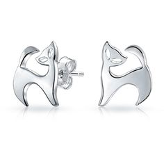 Bling Jewelry Bling Jewelry 925 Sterling Silver Modern Kitty Cat... ($17) ❤ liked on Polyvore featuring jewelry, earrings, silver tone, sterling silver jewelry, studded jewelry, cat stud earrings, silver tone earrings and cut out jewelry