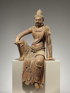 北宋 彩繪木雕文殊菩薩像(地黃木胎)<br/>Bodhisattva Manjushri (Wenshu)