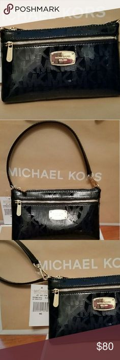 "Michael Kors Wristlet Michael Kors jet set large black patent wristlet. Brand new with tags. One large outside zipper pocket , 1 large interior pocket , 4 credit card slots inside. Gorgeous black patent leather with Gold Hardware. 8"" long and 5"" high. MICHAEL Michael Kors Bags Clutches & Wristlets"