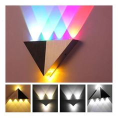 5W Warm/White/Colorful LED Wall Sconce Lighting Lamp Indoor Atmosphere Easy to Install  Description: The triangle wall lamp with shell in black and silver is an exquisite ornament to your modern house, study room, bedroom, corridor, parlour, or cafe, bar, and club, restaurant, hotels, nearly everywhere is suited. Elegant atmosphere light to provide you night illumination and also add some special feeling tone to your room..   eBay!