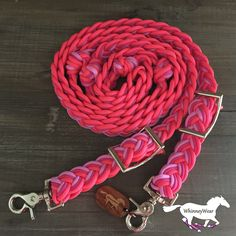 Neon Pink, Raspberry and Light Pink Braided Barrel Reins by WhinneyWear. Custom order at www.whinneywear.com