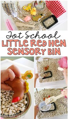 This Little Red Hen themed sensory bin was fun for little hands to explore. Perfect for a farm theme in tot school, preschool, or the kindergarten classroom.