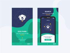 Onboarding - Dog Park UI challenge designed by akhmad bani irulloh. Mobile App Ui, Mobile App Design, Parking App, Logo Character, Dog Search, User Interface Design, Dog Park, Dog Design, Pet Care