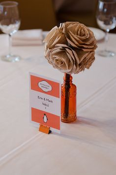 Use colorful binder clips to display your table numbers; why didn't I think of this? | Offbeat Bride