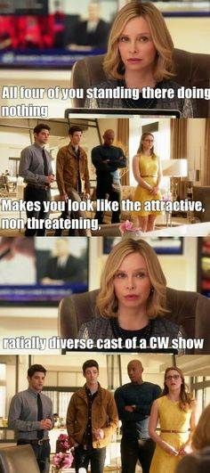 Cat Grant is amazing! I love how they casually just slipped in a line about CW just because Grant Gustin (the Flash aka Barry Allen) is there! Supergirl Tv, Supergirl And Flash, Supergirl Cat Grant, Superhero Shows, Superhero Memes, Arrow Flash, Flash Funny, Cw Dc, Dc Tv Shows